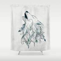 wolf Shower Curtains featuring Wolf by LouJah