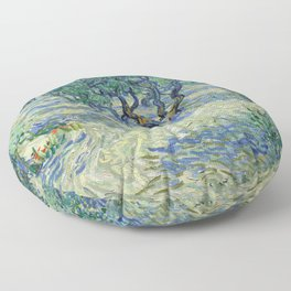 Olive Orchard by Vincent van Gogh Floor Pillow