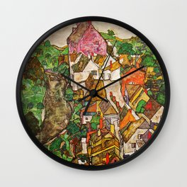 Egon Schiele - Landscape at Krumau 1916 Wall Clock