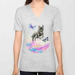 Leap! | Pit Bull Dog, Rainbow Clouds, and Butterflies Unisex V-Neck
