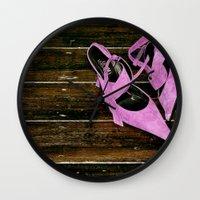 heels Wall Clocks featuring pink heels by Photofairy