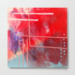 Jubilee: a vibrant abstract piece in reds and pinks Metal Print