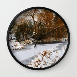 The Old Mill Stream in Winter Wall Clock