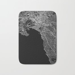 Melbourne Black Map Bath Mat