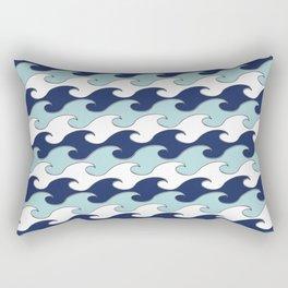 Silver Tipped Waves White Navy Baby Blue Seaside Ocean Beach Rectangular Pillow