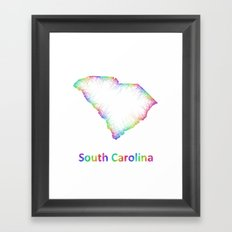 Rainbow South Carolina map Framed Art Print