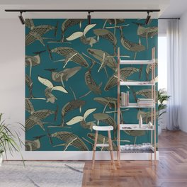 just whales blue Wall Mural