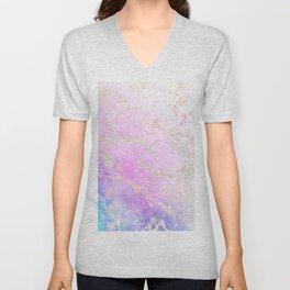 Modern rainbow glitter marble on nebula watercolor ombre Unisex V-Neck