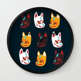Kitsune Masks Wall Clock