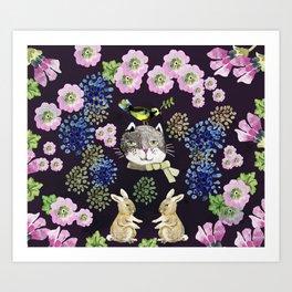 Cat Rabit Art Print