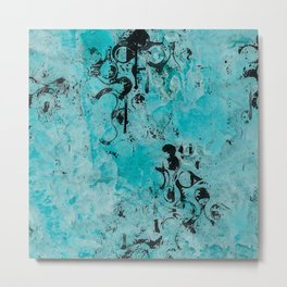 Turquoise Marble Stone with Black Ink overlay design Metal Print