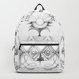 the rhyme of repetitive elements - black and white drawing Backpack
