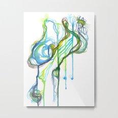 Aqua Trickle Metal Print
