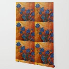"""Blue flowers on orange silk"" (Air Spring at night) Wallpaper"
