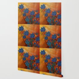"""Blue flowers on orange silk"" (Air Spring at night) Wallpaper"
