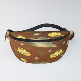 brown, golden pattern of little cowboy hats Fanny Pack