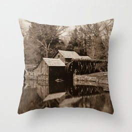 Mabry Mill (Sepia) Throw Pillow