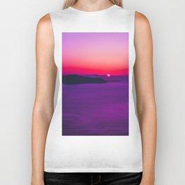 purple sunset in Fira Santorini Biker Tank