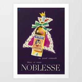 Vintage Poster- Noblesse - un grand vermouth blanc et rouge Art Print