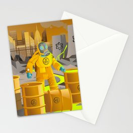 biohazard suit man with barrels near nuclear meltdown in powerplant Stationery Cards