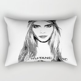Cara Delevingne, playing with brushes. Rectangular Pillow