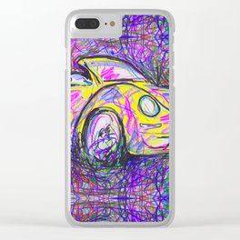 Expressive Bright Yellow V W Beetle created under the influence of Caffine by annmariescreations Clear iPhone Case