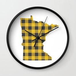 Minnesota Plaid in Yellow Wall Clock