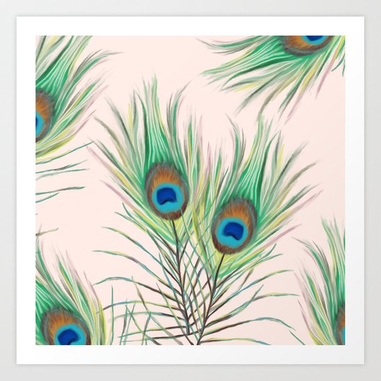 Unique Peacock Feathers Pattern Art Print