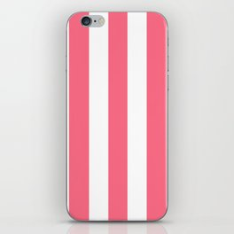 Wild watermelon pink - solid color - white vertical lines pattern iPhone Skin