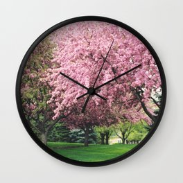 Spring Pink BlossomsTrees Nature Landscape - Pink Nature Wall Art Home Decor Wall Clock