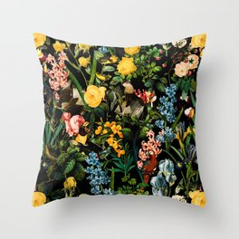 FLORAL AND BIRDS V Throw Pillow