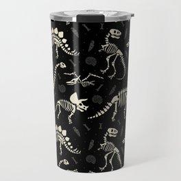 Dinosaur Fossils on Black Travel Mug