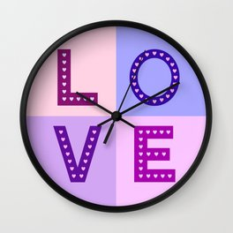 Love Hearts Love Type Pinks Purples Wall Clock