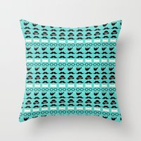 moustache Throw Pillows featuring moustache by lilumon