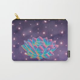Blue Rainbow Lotus Holly Flower in Universe Carry-All Pouch