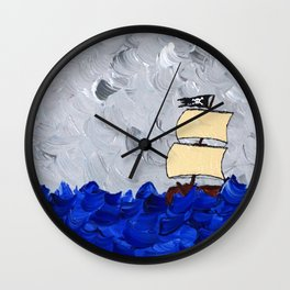 Pirate Ship On Stormy Seas in Acrylic Wall Clock