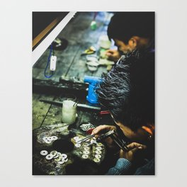 Steward of silver in Myanmar Canvas Print