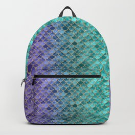 Blue Mermaid Fish Scales Ombre 2 Backpack