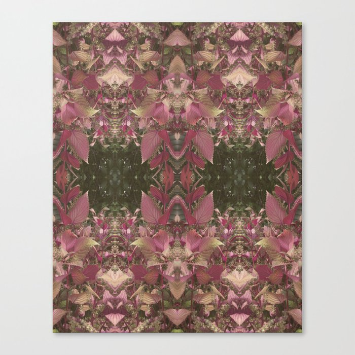 Red Shiso Warm Tones Pattern Canvas Print