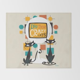 Dig Those Crazy Cats Throw Blanket