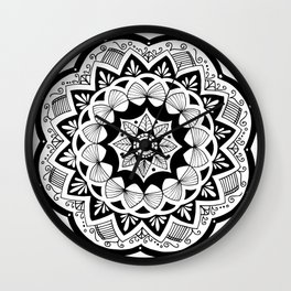 Moroccan black mandala on white Wall Clock