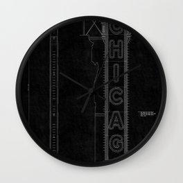 Chicago Theatre Blueprint 3 Wall Clock