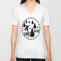 snowboard V-neck T-shirts featuring Forest Snowboard Love Blue by Patti Friday