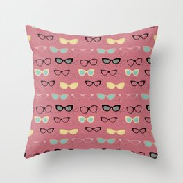 1950's Specs in Pink Flamingo Throw Pillow