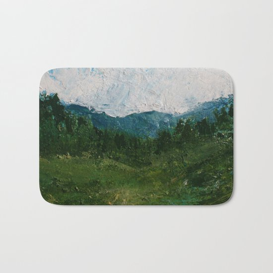 A Forest Under Blue Skies Impasto Painting Bath Mat
