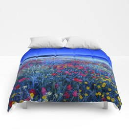 Spring poppies at blue hour Comforters