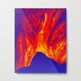 Volcanic Mountain with Nightsky Metal Print