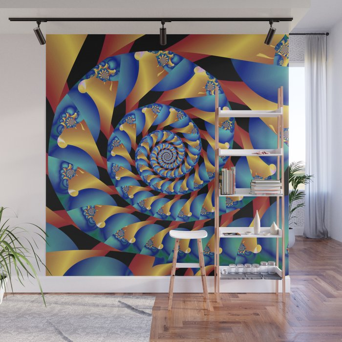 Archimedes' Blue & Gold Tangent Wall Mural