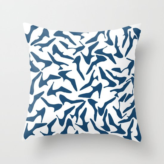 Shoes Navy on White Throw Pillow