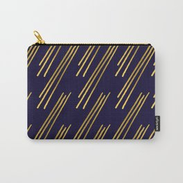 Golden lines on dark blue background Carry-All Pouch